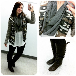 GREY WHITE PRINT CARDIGAN